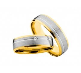 Dwukolorowe obrączki ślubne z białego i żółtego kruszcu 14K z lśniącą cyrkonią Swarovski ELEMENTS