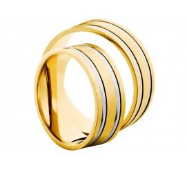 Solidny komplet obrączek z dwóch kolorów złota z kolekcji Secret