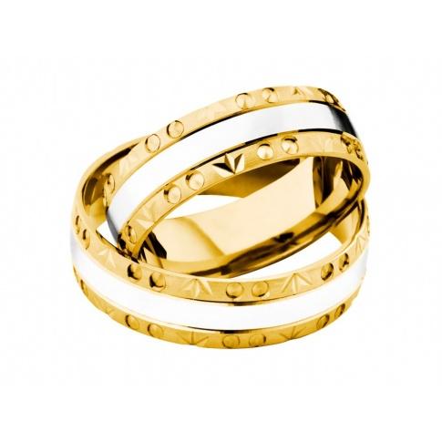 Delikatne dwukolorowe obrączki z ozdobną krawędzią - białe i żółte złoto próby 585