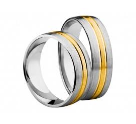 Wielokolorowy duet obrączek ślubnych z delikatną linią z żółtego złota