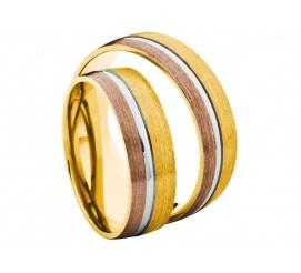Trio barw - komplet obrączek z białego, żółtego i czerwonego złota z kolekcji Amare Secret