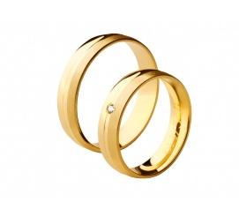 Romantyczne i subtelne obrączki ślubne z żółtego złota próby 585 z cyrkonią Swarovskiego lub brylantem