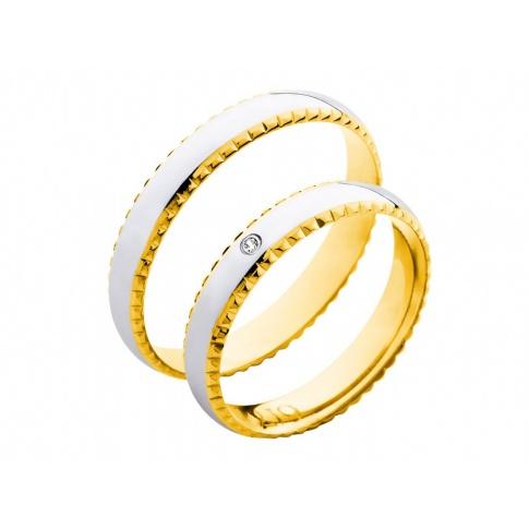 Niezwykłe obrączki ślubne z białego i żółtego złota z ozdobną, grawerowaną krawędzią i cyrkonią Swarovski ELEMENTS