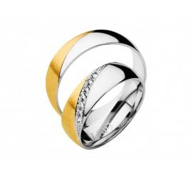 Niezwykłe obrączki ślubne z białego i żółtego złota z cyrkoniami Swarovskiego lub brylantami