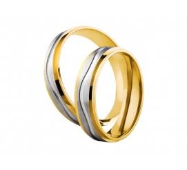 Dwukolorowe obrączki ślubne próby 585 w delikatnym stylu z fantazyjną linią