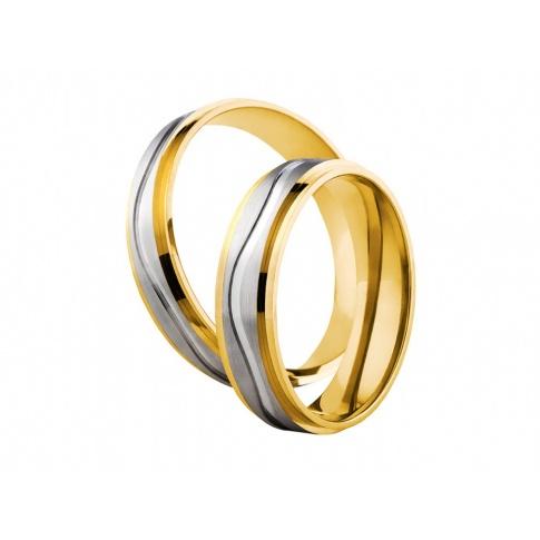 Dwukolorowe obrączki ślubne w delikatnym stylu z fantazyjną linią