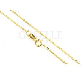 Elegancki i subtelny łańcuszek o splocie singapur wykonany z żółtego złota - długość 45cm