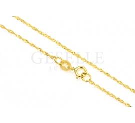 Delikatny łańcuszek singapur z żółtego złota, długość 45cm