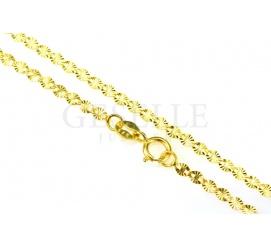 Doskonały dodatek do zawieszki! - łańcuszek o splocie fantazyjnym z żółtego złota, długość 50 cm