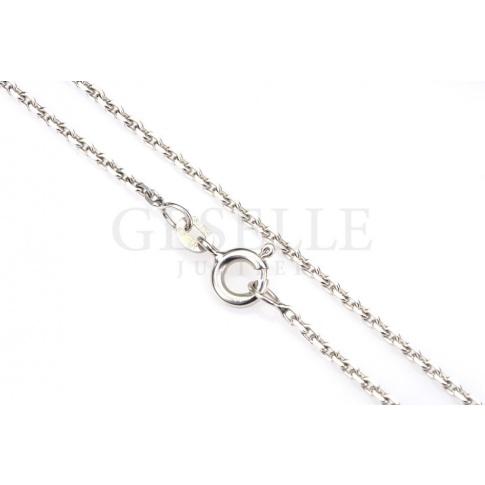 Elegancki łańcuszek z białego złota o splocie ankier, długość 50 cm