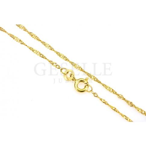 Uniwersalny, złoty łańcuszek o splocie singapur o długości 45 cm