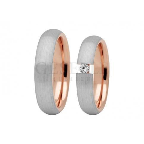 Dwukolorowe obrączki ślubne! - wewnątrz z różowego, z zewnątrz z białego złota - z lśniącą cyrkonią Swarovski ELEMENTS lub brylantem