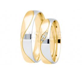 Najnowszy wzór - obrączki ślubne z białego i żółtego złota z łezką i falą, szerokość 5 mm