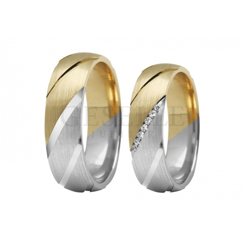 Majestatyczne, dwubarwne obrączki ślubne z 14-karatowego białego i żółtego złota z pełnymi blasku kamieniami