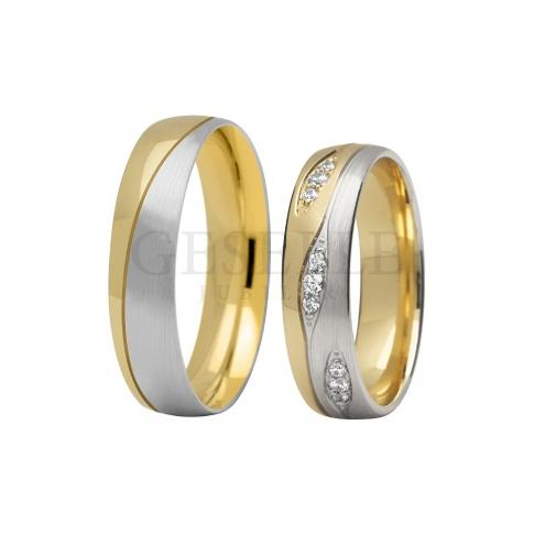 Fantazyjne obrączki ślubne z dwóch kolorów złota - białego i żółtego - z dziewięcioma kamieniami