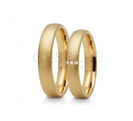 Wąskie, oryginalne obrączki ślubne z żółtego złota próba 585 z cyrkoniami lub brylantami