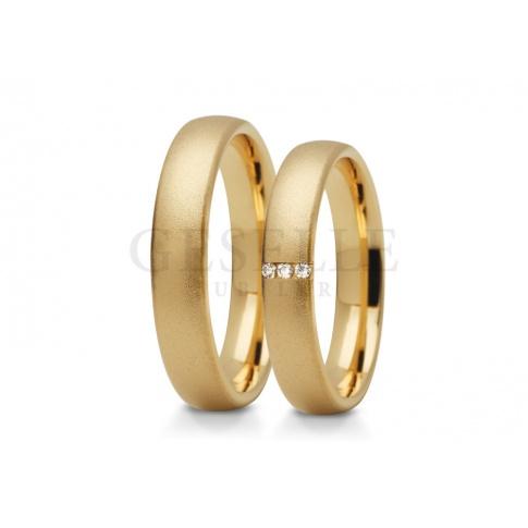 Wąskie, oryginalne obrączki ślubne z żółtego złota z cyrkoniami lub brylantami