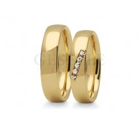 Eleganckie złote obrączki ślubne z cyrkoniami Swarovskiego lub brylantami