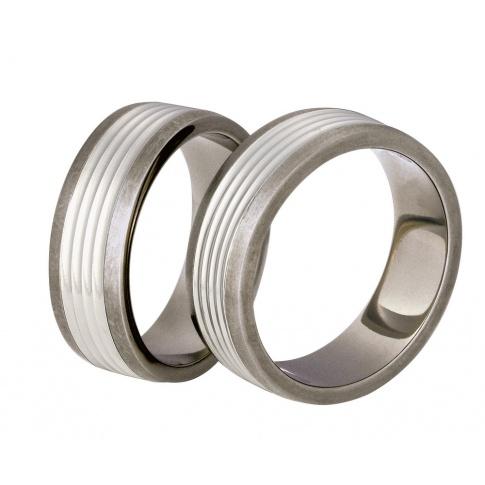 Popularne tytanowe obrączki ślubne ze srebrnymi detalami
