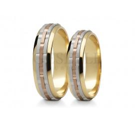 Nowoczesny duet wielobarwnych obrączek ślubnych z białego, żółtego i czerwonego kruszcu pr. 585