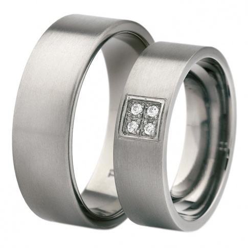 Niezwykłe, antyalergiczne obrączki z tytanu w srebrzystym kolorze z czterema kamieniami