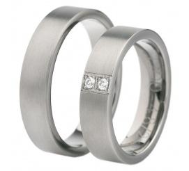 Klasyczne obrączki ślubne z dwoma imponującymi kamieniami - cyrkoniami Swarovski ELEMENTS lub najprawdziwszymi brylantami