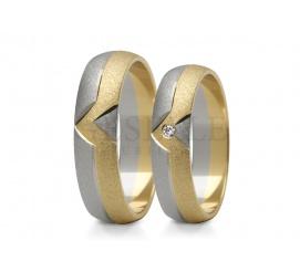 Nowoczesny komplet obrączek ślubnych z dwukolorowego złota z lśniącym kamieniem - cyrkonią Swarovskiego lub brylantem