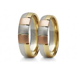 Elegancki duet obrączek z trzech kolorów złota - białe, żółte, czerwone