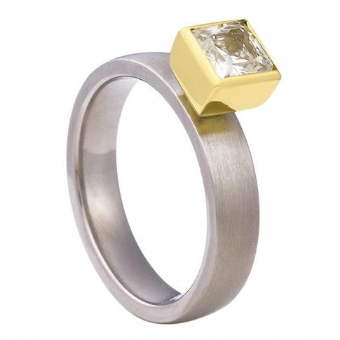 Elegancki pierścionek zaręczynowy z tytanu i żółtego złota z kwadratową cyrkonią