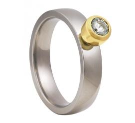 Efektowny pierścionek zaręczynowy z tytanu i żółtego złota z bezbarwną cyrkonią