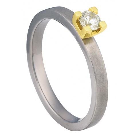 Pierścionek zaręczynowy z tytanu i żółtego złota z białą cyrkonią