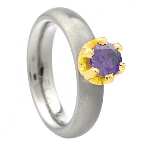 Tytanowy pierścionek z dodatkiem żółtego złota 18K z fioletową cyrkonią