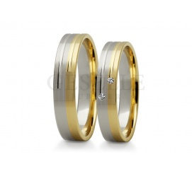 Wyjątkowe, wielokolorowe obrączki ślubne z białego i żółtego złota z cyrkoniami Swarovskiego lub brylantami