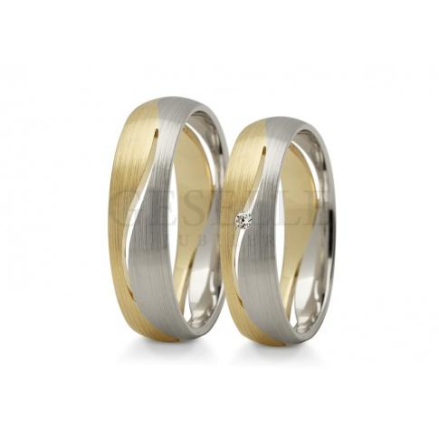 Nowoczesne, dwukolorowe obrączki ślubne z wspaniałą cyrkonią Swarovski ELEMENTS lub brylantem