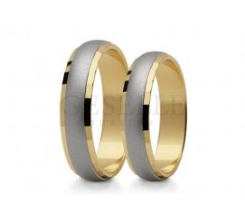 Niezwykły komplet dwukolorowych obrączek do ślubu ze złota próby 585 subtelne matowanie wewnątrz i polerowane brzegi