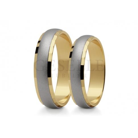 Komplet dwukolorowych obrączek do ślubu ze złota subtelne matowanie wewnątrz i polerowane brzegi