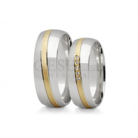 Niebanalne, dwukolorowe złote obrączki ślubne z wspaniałą wstęgą kamieni - cyrkonii lub brylantów
