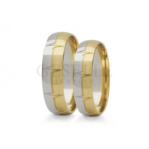 Oryginalne, złote obrączki ślubne z wyjątkowym wzorem - zapisem EKG