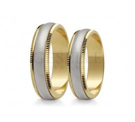 Komplet obrączek ślubnych z dwóch kolorów złota pr. 585 w klasycznym stylu