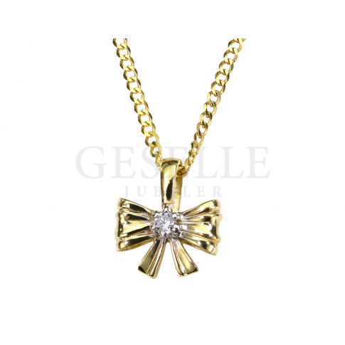 Urocza zawieszka - kokardka na prezent z klasycznego złota pr. 585