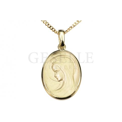 Piękny medalik z klasycznego złota pr. 585 z Matką Boską - GRAWER W PREZENCIE