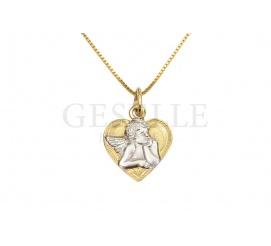 Uroczy, rodowany aniołek w złotym serduszku - złota zawieszka z możliwością graweru!