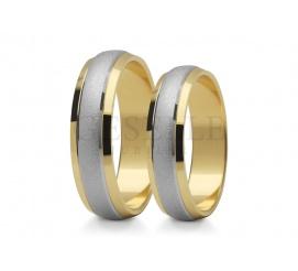 Dwukolorowe obrączki ślubne z białego i żółtego złota próby 585 w klasycznym stylu