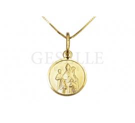 Wyjątkowy, złoty medalik z wizerunkiem biskupa na chrzest, komunię czy bierzmowanie
