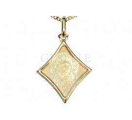 Złoty medalik w kształcie rombu - symbol wiary