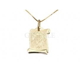 Uroczy medalik - złoty zwój z Matką Boską