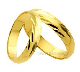 Grawerowane obrączki ślubne z 14-karatowego złota z delikatnym zdobieniem