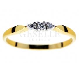 Misterny pierścionek zaręczynowy z żółtego złota z brylantami 0,05 karata