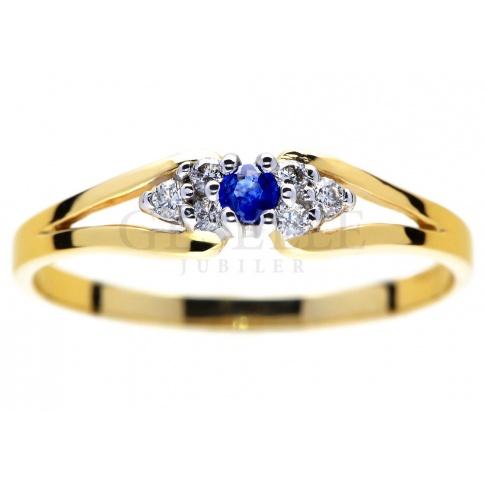 Oryginalny Złoty Pierścionek Zaręczynowy Z Niebieskim Szafirem I