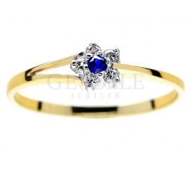Kwiatowy pierścionek na romantyczne zaręczyny z szafirem i brylantami